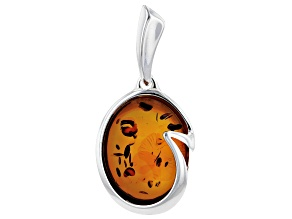 Pre-Owned Orange Cabochon Amber Sterling Silver Solitaire Pendant