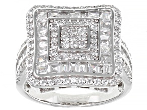Pre-Owned White Cubic Zirconia Rhodium Over Sterling Silver Ring 2.83ctw