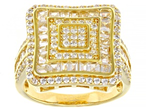 Pre-Owned White Cubic Zirconia 18K Yellow Gold Over Sterling Silver Ring 2.83ctw