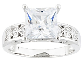 Pre-Owned White Cubic Zirconia Rhodium Over Silver Ring 4.00ctw