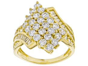 Pre-Owned White Cubic Zirconia 18K Yellow Gold Over Sterling Silver Ring 3.51ctw