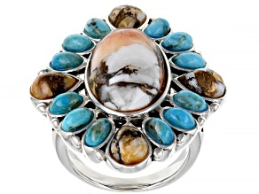 Pre-Owned Blue Turquoise and Spiny Oyster Shell Rhodium Over Sterling Silver Ring