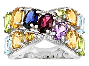 Pre-Owned Oval And Round Multi Color Multi Gemstone Rhodium Over Sterling Silver Ring 4.99ctw