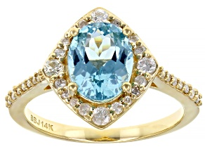 Pre-Owned Oval Apatite With Round Accent White Diamond 14k Yellow Gold Ring 2.15ctw