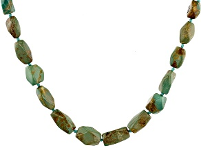 Pre-Owned Turquoise In Matrix Rhodium Over Silver Graduated Necklace