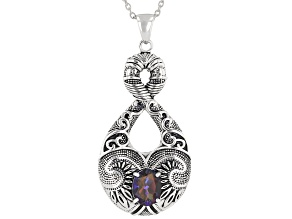"""Pre-Owned Hawaiian Skies™ Quartz Rhodium Over Sterling Silver Pendant With 18"""" Chain 1.35ctw"""