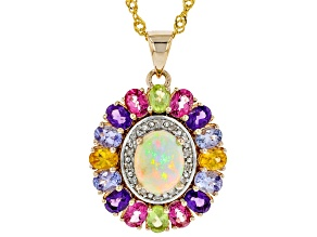 Pre-Owned Multi-Color Opal 18k Gold Over Silver Pendant With Chain 3.72ctw