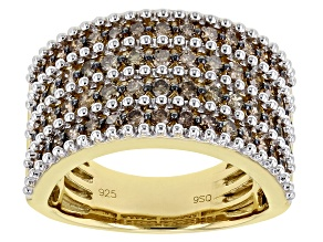 Pre-Owned Champagne Diamond 14K Yellow Gold Over Sterling Silver Wide Band Ring 1.50ctw