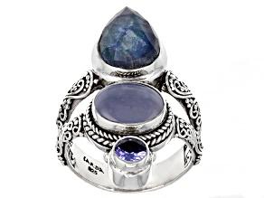 Pre-Owned Sapphire Quartz Triplet, Chalcedony & Tanzanite Silver Ring 4.48ctw