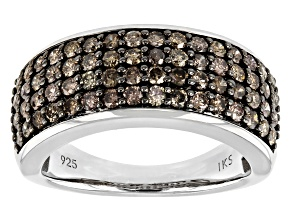 Pre-Owned Champagne Diamond Rhodium Over Sterling Silver Wide Band Ring 1.20ctw