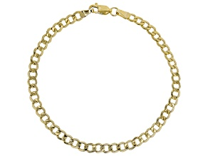 Pre-Owned 14k Yellow Gold With a Sterling Silver Core Designer Curb 7 1/2 inch Bracelet