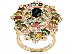 Pre-Owned Multi-Color Tourmaline 18K Yellow Gold Over Sterling Silver Ring 4.79ctw