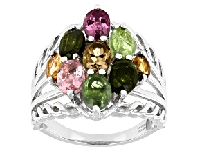 Pre-Owned Multi-Color Multi-Tourmaline Rhodium Over Sterling Silver Ring 2.75ctw