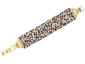 Pre-Owned Multicolor Crystal Gold Tone Bracelet