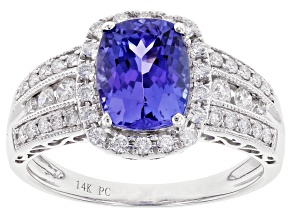 Pre-Owned Blue Tanzanite Rhodium Over 14K White Gold Ring 2.27ctw