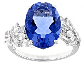 Pre-Owned Blue Fluorite Rhodium Over Sterling Silver Ring 7.38ctw