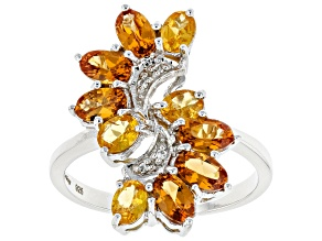 Pre-Owned Orange Mandarin Garnet Sterling Silver Ring 2.52ctw