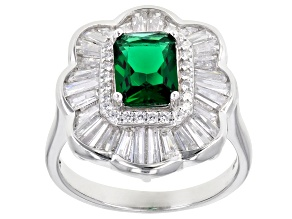 Pre-Owned Green And White Cubic Zirconia Rhodium Over Sterling Silver Ring 4.00ctw