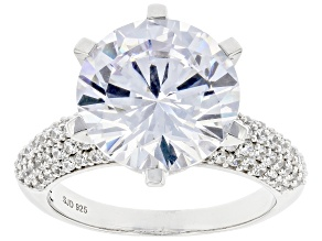 Pre-Owned White Cubic Zirconia Rhodium Over Silver Ring 10.95ctw   (7.30ctw DEW)
