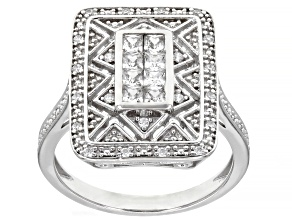 Pre-Owned White Cubic Zirconia Rhodium Over Sterling Silver Ring 0.88ctw