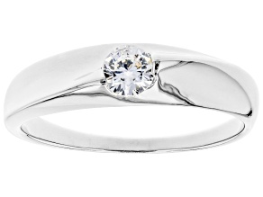 Pre-Owned White Cubic Zirconia Rhodium Over Sterling Silver Promise Ring 0.40ctw