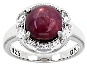 Pre-Owned Red Ruby Rhodium Over Sterling Silver Ring 3.92ctw