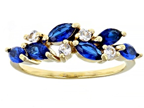 Pre-Owned Blue Lab Created Spinel 18k Yellow Gold Over Sterling Silver Ring 0.90ctw