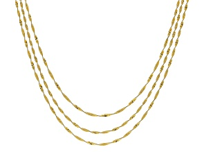 Pre-Owned 18K Yellow Gold Over Sterling Silver Multi-strand Twisted Herringbone Necklace 20 inch