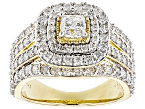 Pre-Owned White Diamond 10K Yellow Gold Cluster Ring 1.98ctw