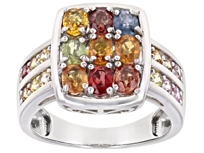 Pre-Owned Multicolor Sapphire Rhodium Over Sterling Silver Ring 2.04ctw