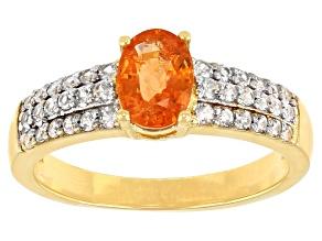 Pre-Owned Orange Mandarin Garnet & White Zircon 18K Yellow Gold Over Silver Ring 1.45ctw