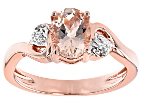 Pre-Owned Peach Morganite 18k Rose Gold Over Sterling Silver Ring 0.95ctw