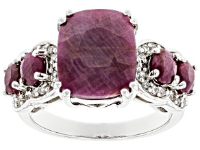 Pre-Owned Red Ruby Rhodium Over Sterling Silver Ring 6.73ctw