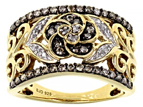 Pre-Owned Champagne And White Diamond 14k Yellow Gold Over Sterling Silver Flower Ring 0.50ctw