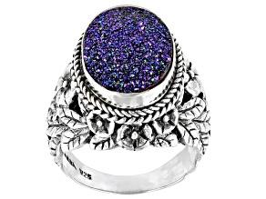 Pre-Owned Peacock™  Drusy Quartz Silver Frangipani Ring