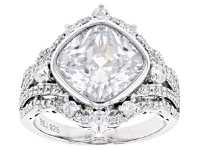 Pre-Owned White Cubic Zirconia Rhodium Over Sterling Silver Ring 9.61ctw