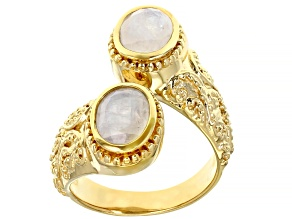 Pre-Owned Rainbow Moonstone 18K Yellow Gold Over Sterling Silver Ring 1.99ctw