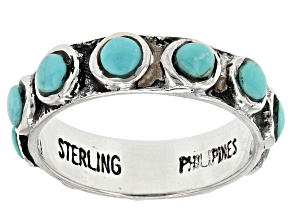 Pre-Owned Turquoise Kingman Silver Eternity Band Ring