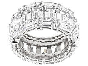 Pre-Owned White Cubic Zirconia Rhodium Over Sterling Silver Ring With 2 Bands 18.81ctw