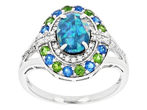 Pre-Owned Multi Color Opal Triplet Rhodium Over Sterling Silver Ring 9x6mm