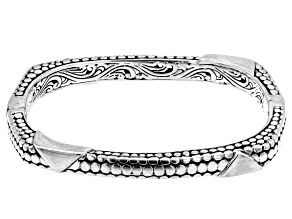 """Pre-Owned Sterling Silver """"Overflowing With Joy"""" Bangle Bracelet"""