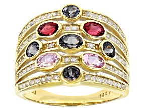 Pre-Owned Gray, Pink, & Red Spinel And White Diamond 14K Yellow Gold Cocktail Ring 1.79ctw