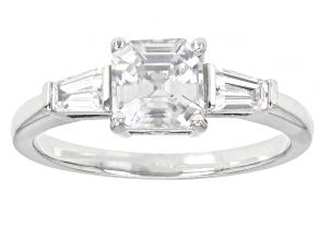 Pre-Owned White Zircon Rhodium Over Sterling Silver 3-Stone Ring. 1.60ctw