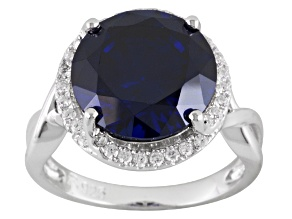 Pre-Owned Blue And White Cubic Zirconia Rhodium Over Sterling Silver Ring 10.35ctw