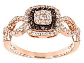 Pre-Owned Mocha And White Cubic Zirconia 18K Rose Gold Over Sterling Silver Ring 0.94ctw
