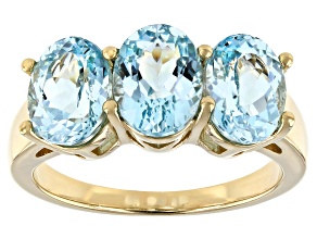 Pre-Owned Cabo Delgado Blue Apatite 18k Gold Over Silver Ring 2.83ctw