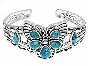 Pre-Owned Blue Turquoise Rhodium Over Silver Butterfly Cuff