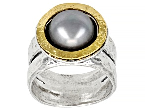 Pre-Owned Silver Cultured Freshwater Pearl Sterling Silver With 14k Yellow Gold Over Accent Ring