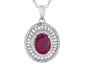 Pre-Owned Red Ruby Rhodium Over Sterling Silver Pendant With Chain 2.70ctw