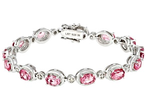 Pre-Owned Pink Topaz Rhodium Over Sterling Silver Bracelet. 12.35ctw
